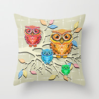Little Hoots Throw Pillow by Lisa Argyropoulos