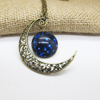 Antique bronze galaxy necklace /crescent moon  necklace