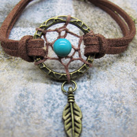 Turquoise Antique Bronze Dreamcatcher Bracelet  / Feather Bracelet / Natural stone Beads Bracelet  / Native American Jewelry