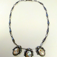 1940s Silver and Mother of Pearl Squash Blossom Necklace Signed