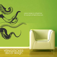 Octopus wall decal-decor Sea Monsters wall sticker art deco vinyl