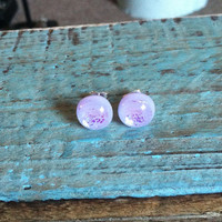 Purple Dichroic Glass Stud Earrings - Stud Earrings - Glass Stud Earrings, Dichroic Glass