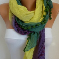 Ombre Scarf -- Shawl Scarf - Batik Design - Cowl Scarf - fatwoman bridesmaid gift Women's fashion - Yellow Purple Green Pompom Scarf