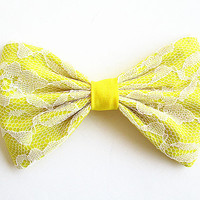 Hair Bow, Fabric Hair Bow, Big Hair Bow, Womens Hair Bow, Lace Hair Bow, Hair Clip