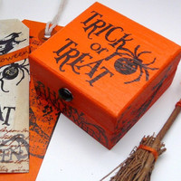 Halloween Keepsake Box with Gift Tag And Witches Broom, Altered Art