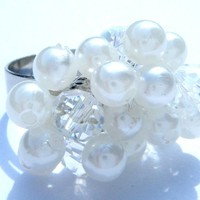 White Beaded Cluster Ring
