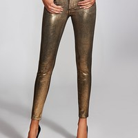 Brittney Gold-Foil Mid-Rise Leggings at Guess
