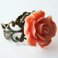 Rose Ring - Rose Statement Cocktail Ring , Bridesmaid Ring, Vintage Look Filigree Ring