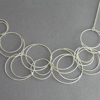 Wire Bubble Necklace - Sterling Silver - Circles Bib Necklace - Spiral Necklace - Asymetrical Necklace