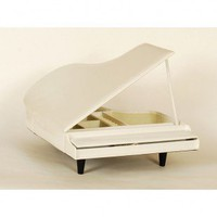 Ashton Sutton Piano Shaped Jewelry Box in White - J405WHT - Jewelry Boxes - Decorative Accents - Decor