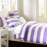 Cottage Stripe Duvet Cover + Sham, Purple