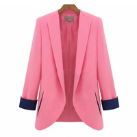 Tailored Blazer with Contrast Sleeve Lining for Women
