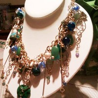 Dramatic One-of-a-Kind High Fashion Art Necklace in Blue and Green