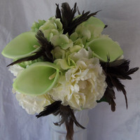 Calla Lily and Feather Wedding Bouquet Mint Green and Chocolate Brown