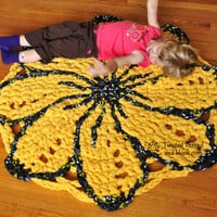 Sunshine Flower Rug - Nursery or Girl's Room Decor - Handmade to Order from Twisted Thread And Hook