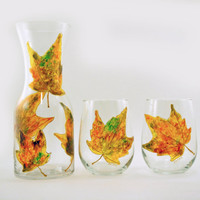 Autumn glass carafe and glasses set - Hand painted glassware