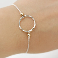 Sterling Silver Hammered Karma Circle Bracelet with Gold Filled Beads - Simple Modern Minimalist Jewelry - Silver Filled Delicate Chain