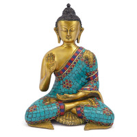 "One Kings Lane - The Coffee Table - 15"" Brass & Stone Sitting Buddha"
