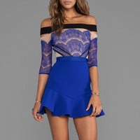 Three Floor Kloss Up Dress in Nude/Black/Cobalt Blue from REVOLVEclothing.com