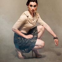 Bionic Rapture Blouse with Cowl Collar and Elbow Length Sleeves