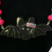 Black Bat Pink Bow and Hearts Necklace