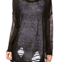 Sweet Shreds Oversized Ripped Knit - Black -  $39.00 | Daily Chic Tops | International Shipping