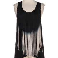 Olé Ombré Fringe and Leather Tank - Black -  $34.00 | Daily Chic Tops | International Shipping