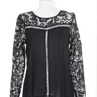 Easy on the Eyes Lace Sleeve Blouse - Black -  $40.00 | Daily Chic Tops | International Shipping