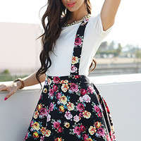 Floral Print Suspender Dress