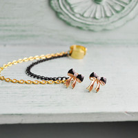 Delicate Black Bow Gold Chain Ear Cuff - SALE