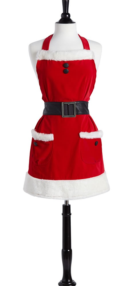 Holiday bib mrs clause apron black label from