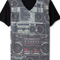 Bar III T-Shirt, Boom Box V-Neck Short Sleeve Graphic T-Shirt - T-Shirts - Men - Macy's