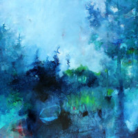 "Abstract Landscape Painting Blue on Canvas ""The Secrets of Trees"""