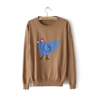New Style Scoop Neck Long Sleeve Poult Printing Embellished Casual Sweater For Women