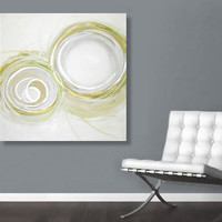 "Large Abstract Acrylic Painting Original Fine Art 36""x36"" by Linnea Heide - white circles - pale celadon green - metallic gold"