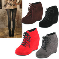 New Womens Shoes Fashion Suede Wedge Ankle Booties Kill High Heel Boots Platform