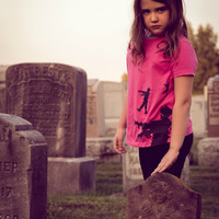 Pink Girls Zombie shirt, size 12, zombies halloween costume