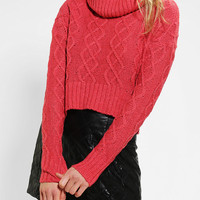 Urban Outfitters - Pins And Needles Cable-Knit Cropped Turtleneck Sweater
