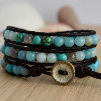 Bohemian bracelet. Aqua leather wrap. Bead mix bracelet
