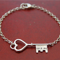 Personalised Silver Key Bracelet