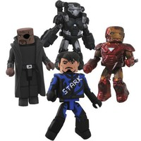 Iron Man 2 Movie Exclusive Minimates Mini Figure 4Pack Boxset Race Track Tony Stark, Nick Fury, Battle Damaged Mark VI Iron Man  Battle Damaged War Machine