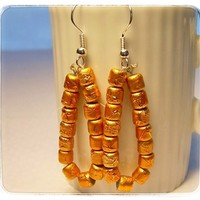 Earrings Juicy Orange Hoop Dangle Handmade Glass Beads