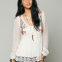 Free People  Embroidered Open Stitch Top at Free People Clothing Boutique