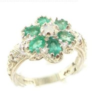Solid English White 9K Gold Womens Fiery Opal & Emerald Art Nouveau Flower Ring - Finger Sizes 5 to 12 Available:Amazon:Jewelry