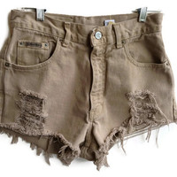 "Brown High Waisted Denim Shorts Vintage Distressed 27"" Waist"