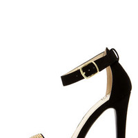 My Delicious Gila Black and Gold Rhinestone Ankle Strap Heels