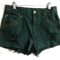 Forest Green High Waisted Denim Shorts