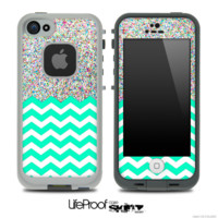 Mixed Colorful Dotted and Trendy Green Chevron Pattern Skin for the iPhone 5 or 4/4s LifeProof Case