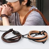 couple bracelet 2 color leather bracelet women Leather Bracelet Men leather bracelet  T032