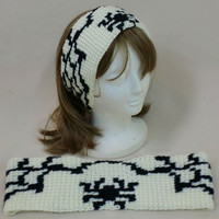 Headband Halloween Spider Web Head Wrap Ear Muffs Hair Style Crochet Black White